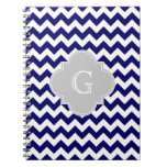 Monograma gris blanco de Chevron Quatrefoil de la  Libro De Apuntes Con Espiral