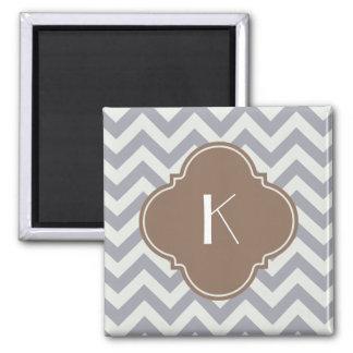 Monograma gris claro del personalizado del zigzag imán para frigorífico