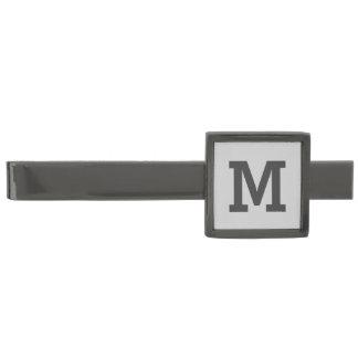 Monograma gris claro y gris alfiler de corbata metalizado