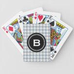 Monograma gris clásico elegante del negro del houn baraja de cartas