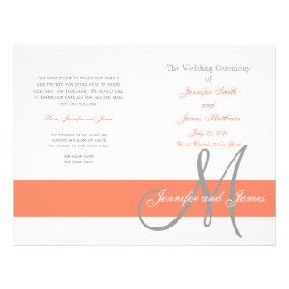 Monograma gris coralino del programa el | del boda flyer personalizado
