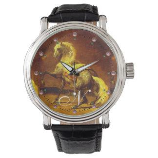 Monograma GRIS DAPPLED del CABALLO Relojes De Mano