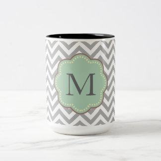 Monograma gris de Chevron Tazas De Café