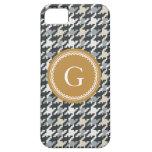 Monograma gris de la tela escocesa del houndstooth iPhone 5 Case-Mate coberturas