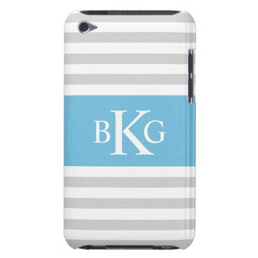 Monograma gris de las rayas azules de cielo Case-Mate iPod touch carcasas
