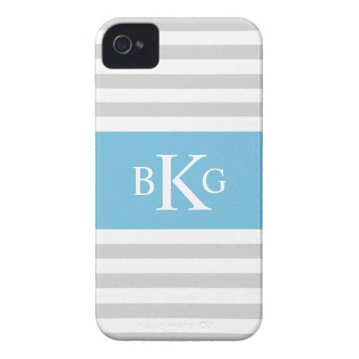 Monograma gris de las rayas azules de cielo iPhone 4 Case-Mate cárcasa