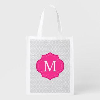 Monograma gris de las rosas fuertes del modelo del bolsas para la compra