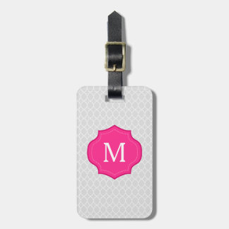 Monograma gris de las rosas fuertes del modelo del etiqueta de equipaje