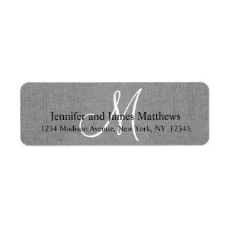 Monograma gris de lino rústico para los bodas etiqueta de remite