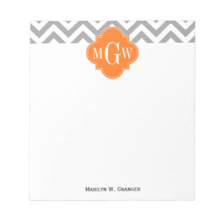 Monograma gris de Quatrefoil 3 de la calabaza de Bloc De Notas