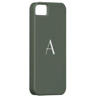 Monograma gris distintivo del blanco del verde del iPhone 5 carcasas