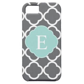 Monograma gris gris de Quatrefoil de la menta iPhone 5 Protectores