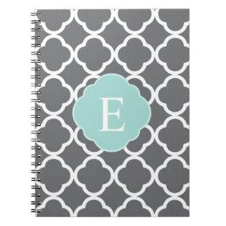 Monograma gris gris de Quatrefoil de la menta Libro De Apuntes