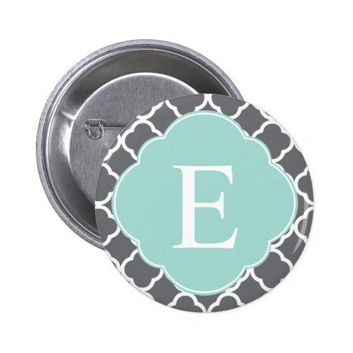 Monograma gris gris de Quatrefoil de la menta Pin Redondo 5 Cm