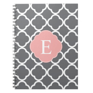 Monograma gris gris de Quatrefoil del melocotón Libro De Apuntes Con Espiral