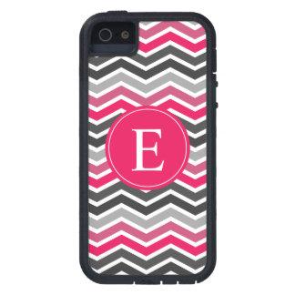 Monograma gris gris rosado de Chevron iPhone 5 Fundas