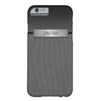 Monograma gris masculino de la mirada de la cadena funda de iPhone 6 barely there