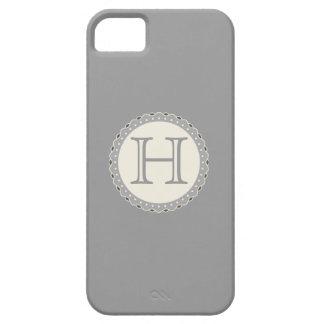 Monograma, gris, nata, caso iPhone5 Funda Para iPhone SE/5/5s