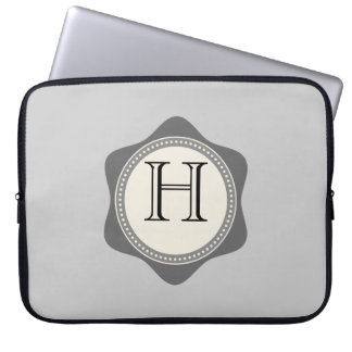 Monograma, gris, nata, manga del ordenador portáti fundas computadoras