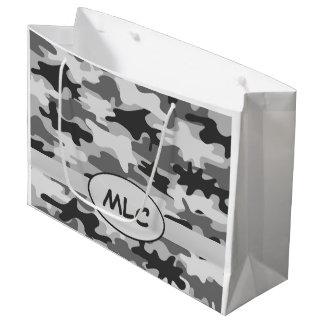 Monograma gris negro del camuflaje personalizado bolsa de regalo grande