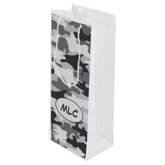 Monograma gris negro del camuflaje personalizado bolsa de regalo para vino
