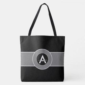 Monograma gris negro personalizado bolsa de tela