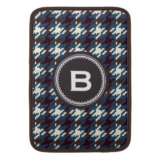 Monograma gris oscuro de la tela escocesa del houn funda para macbook air