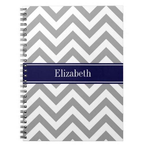 Monograma gris oscuro del nombre de los azules mar cuadernos