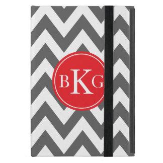 Monograma gris oscuro y rojo del personalizado de  iPad mini carcasa