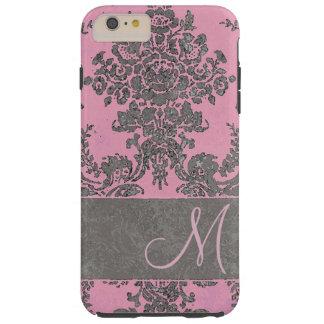 Monograma gris rosado del modelo del damasco del funda resistente iPhone 6 plus