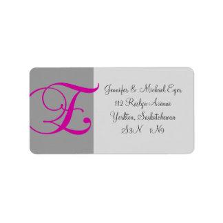 Monograma gris rosado E que casa la etiqueta de di Etiqueta De Dirección