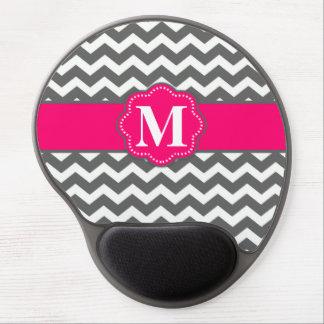 Monograma gris rosado Mousepad de Chevron Alfombrillas Con Gel