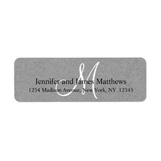 Monograma gris rústico de Kraft para los bodas Etiquetas De Remite