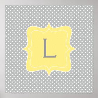 Monograma gris y amarillo del lunar poster