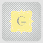 Monograma gris y amarillo del lunar pegatina cuadradas