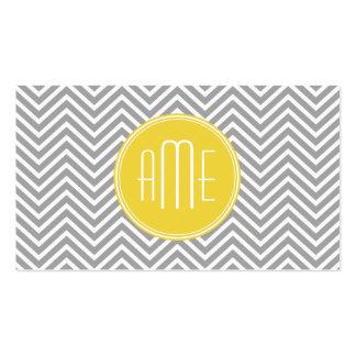 Monograma gris y amarillo del personalizado de los tarjetas de visita