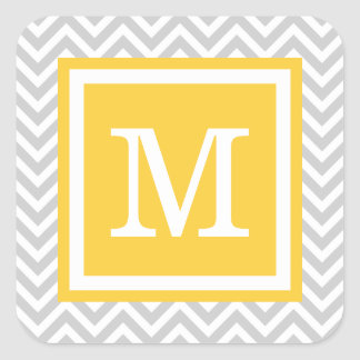 Monograma gris y amarillo del personalizado de pegatinas cuadradas
