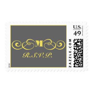 Monograma gris y amarillo que casa el franqueo de sello postal