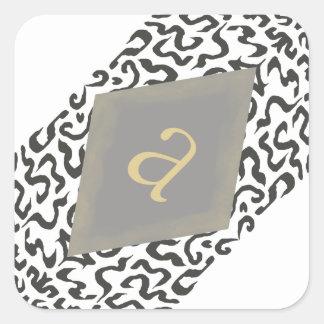 Monograma gris y blanco de la voluta pegatinas de pegatina cuadrada