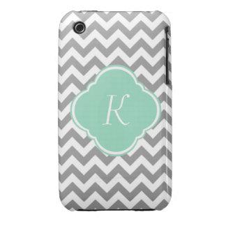 Monograma gris y blanco del personalizado del Case-Mate iPhone 3 protector