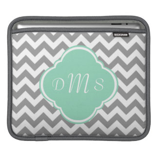 Monograma gris y blanco del personalizado del zigz funda para iPads