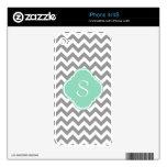 Monograma gris y blanco del personalizado del zigz iPhone 4 calcomanías