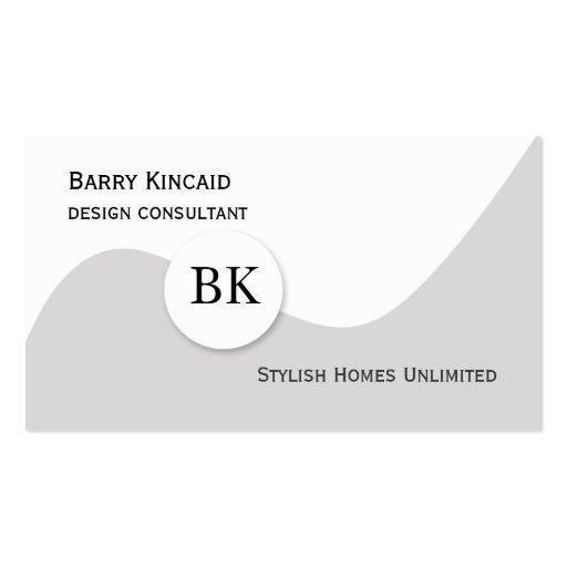 Monograma gris y blanco elegante plantilla de tarjeta de negocio