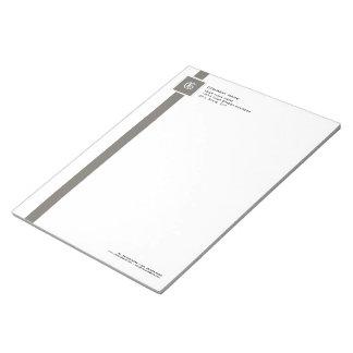 """Monograma gris y blanco profesional 11"""" de la raya blocs"""
