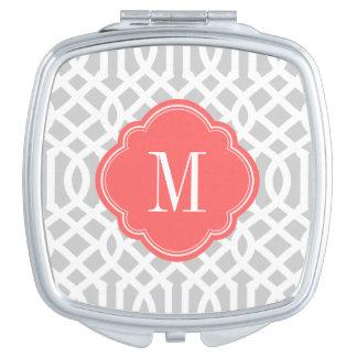 Monograma gris y coralino del enrejado espejos maquillaje