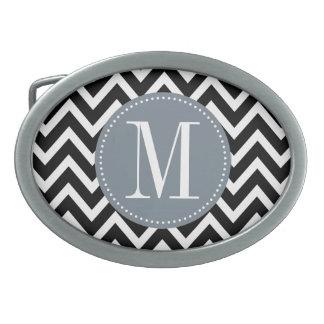 Monograma gris y negro del personalizado de Chevro Hebillas Cinturon Ovales