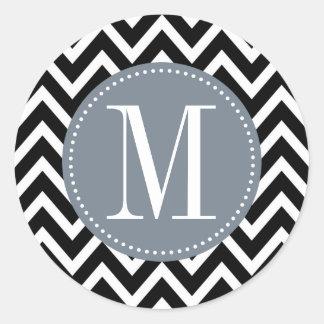 Monograma gris y negro del personalizado de pegatina redonda