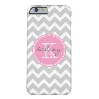 Monograma gris y rosado del personalizado de funda de iPhone 6 barely there