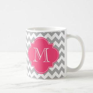 Monograma gris y rosado del personalizado de taza
