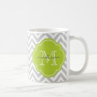 Monograma gris y verde del personalizado de Chevro Taza De Café